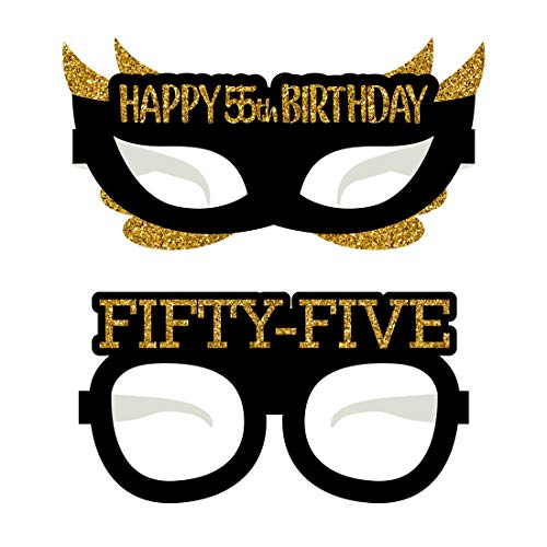 Happy 55th Birthday Glasses, Gold and Black 24-Pack Paper Eye Masks, Woman or Man Party Props Decorations