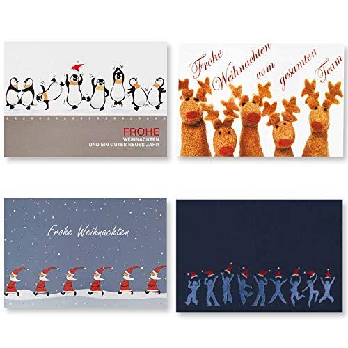8x Stück Weihnachtskarten - 4 Team-Motive á 2 Karten inklusive passende Einlegeblätter und Briefumschläge - geeignet Für Firmenweihnachtskarten für das Team