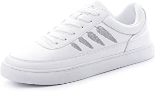 White Lace up Sneakers Women's Fashion Casual Flats Skateboarding Shoes
