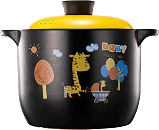 XIAO WEI Soup Casserole Cartoon Ceramic Pot Heat-Resistant earthen Pot Children cookware with Yellow lid for Soup stew Hea...