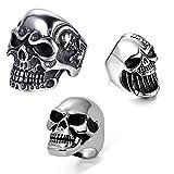 JewelryWe 3 anillos para hombre de acero inoxidable gótico, calavera, abrebotellas, anillo personalizado, color plateado, Acero inoxidable,