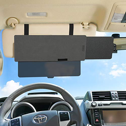 Shadeway 2-in-1 Sun Visor Extension for Car, SUV, Truck - Anti-Glare Extender Protects from Sun Glare, Snow Blindness, Universal for All Automobiles, Transparent Lens with Sun Blocker Slider