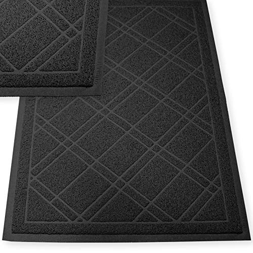 """SlipToGrip Universal Door Mat – XL Size 42"""" x 35"""" – Anti Slip, Durable & Washable – Duraloop Mesh Entrance Outdoor & Indoor Welcome Mat – Dirt and Dust Absorber (Black)"""