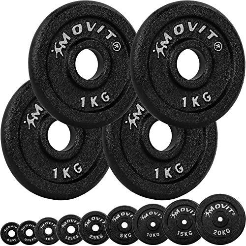 Movit® Hantelscheiben Set PRO, 100% Gusseisen, 30/31 mm Bohrung, Gewichtsscheiben Set Gewichte Hantel 4X 1,0kg