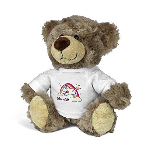 printplanet® Teddybär mit Namen Benedikt - Kuscheltier Teddy mit Design Verrücktes Einhorn