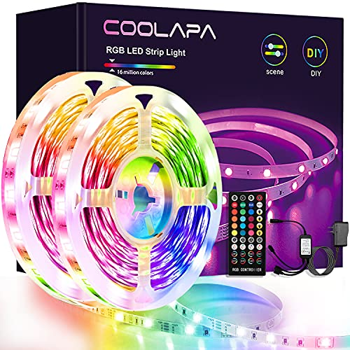 Tira LED 12M, COOLAPA RGB Luces LED, Sync con Música, Tiras LED RGB 5050 12V, Control Remoto IR de 40 Teclas para Decoración de Casa, Jardín, Fiesta, Techo, Hogar, Navidad(12M)