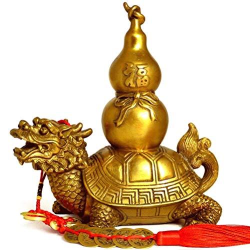 OYQQ sculptuur ornamenten, koperen pompoen draak schildpad terug sculptuur decoratie hoofddecoratie decoratie woonkamer slaapkamer keuken decoraties kunsthandwerk geschenken