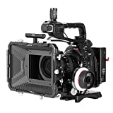 JTZ DP30 Camera Cage with Universal 15mm Rail Rod Baseplate Rig+4×4' Carbon Fiber Matte Box+Follow Focus+Power Supply (LE Version) for Canon Cinema EOS C100 C300 C500 Mark II 2 Video Cameras