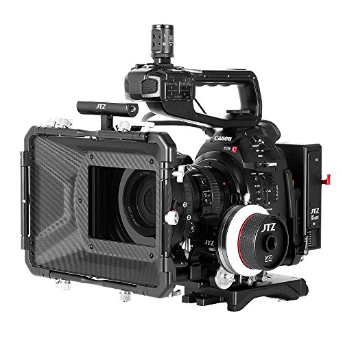 "JTZ DP30 Camera Cage with Universal 15mm Rail Rod Baseplate Rig+4×4"" Carbon Fiber Matte Box+Follow Focus+Power Supply (LE Version) for Canon Cinema EOS C100 C300 C500 Mark II 2 Video Cameras"