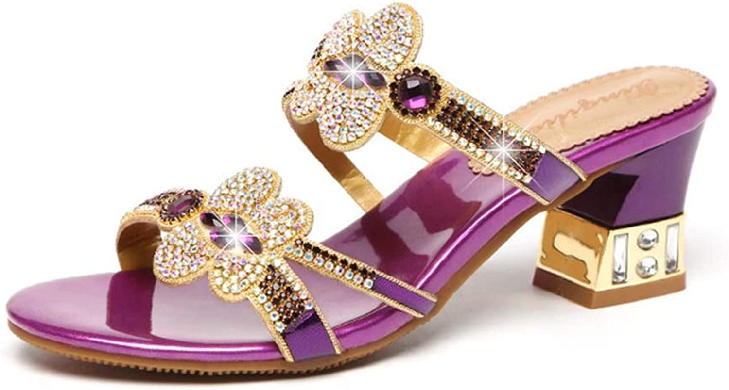 Women's Sandals and Slippers Rhinestones with Diamonds and Sandals in The Summer with Fashion Roman Sandals