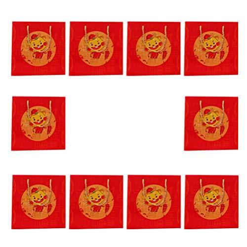 NUOBESTY Bolsas de Regalo de Año Nuevo Chino Bolsas de Papel con Asas para Festival de Primavera Lunar Chino Ratas del Zodiaco Suministros 10 Piezas (Estilo 4)