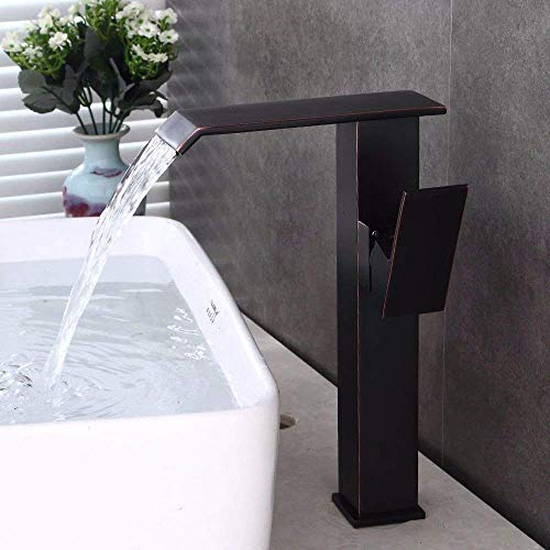 DJY-JY Grifo mezclador para fregadero de baño negro aceitado bronce cascada agua caliente y fría cerámica de un solo agujero monomando para baño fregadero grifo de cocina