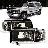 AmeriLite for Dodge 1994-2001 Ram 1500   94-2002 Ram 2500 3500 Black OE Halogen Replacement Headlights Assembly w/Corner Lights Set - Passenger and Driver Side
