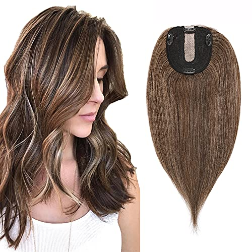 """Hair Toppers Human Hair Brown Topper Hairpieces For Women Clip On Crown Toupee Clip In Wiglet Replacement For Thinning Hair Loss Cover White Hair 12"""" 40g #4P27 Medium Brown mix Dark Blonde"""