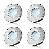 Focos Empotrables LED GU10 Dehobo, Foco Empotrable Techo para baño IP44, 5W Equivalente a Incandescente 50W, Blanco frío 6000K 540LM, Color Níquel Mate, Marco Redondo AC230V 4 Piezas