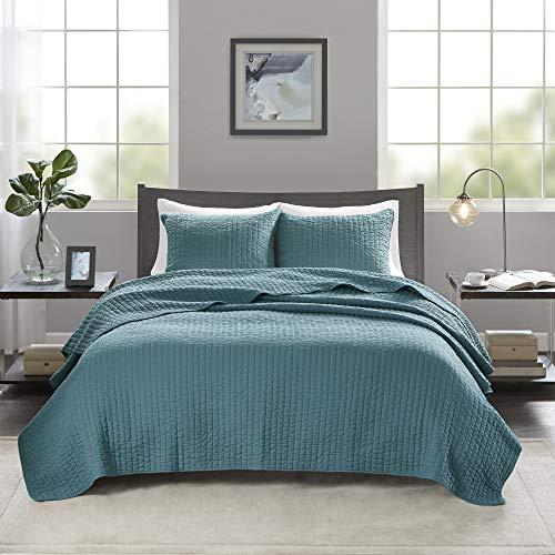 Madison Park Keaton Quilt Set - Casual Channel Stitching Design Anti-Microbial Treated, All Season, Lightweight Coverlet Bedspread Bedding, Shams, Full/Queen(90u0022x90u0022), Stripe Teal