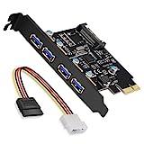 SupaHub - Tarjeta de expansión PCI Express de 4 puertos PCI-E a USB 3.0, compatible con Windows XP, Vista, 7, 8, 10, incluye controlador y cable de alimentación SATA de 15 pines