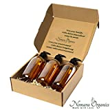 Nomara Organics Seifenspender Set 3 x 300 ml Bernstein Glas Verpackt auf Stroh, BPA-frei...