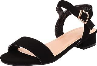 Women's Buckled Ankle Strap Low Block Heel Sandal