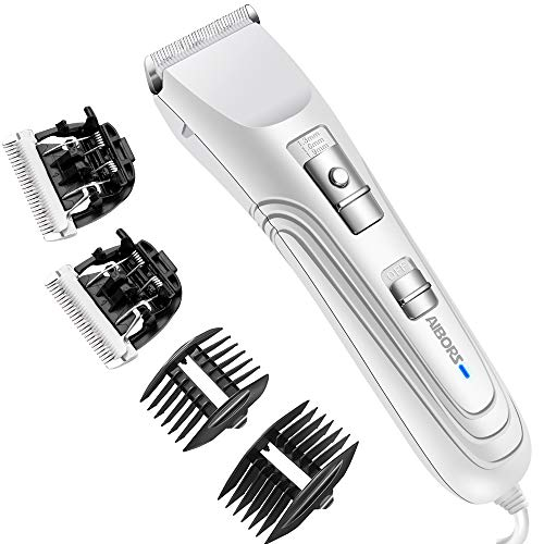 AIBORS Dog Grooming Clippers kit with 12V High Power Low Noise for Thick Coats Heavy Duty Plug-in Pet Trimmer Electric Professional Hair Clippers for Dogs Cats Pets, 2 Pack Blades