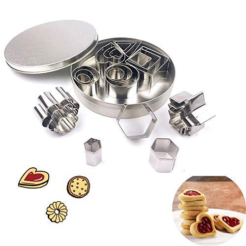 Mini Geometrische Cookie Keks Ausstecher Set,Metall Ausstechformen Set Einfacher Rand Geometrische Formen Mini Schneider,DIY Tools für Backen,Weihnachten (24 Stücke)
