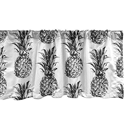Ambesonne Pineapple Window Valance, Hand Drawn Tropical Theme Vintage Style Pineapple Fruit Pattern, Curtain Valance for Kitchen Bedroom Decor with Rod Pocket, 54' X 12', Black Gray