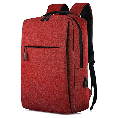Unycos - Laptop Backpack - Waterproof Backpack with USB Port for Men or Women (Red)