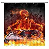 jingjiji Rock Skull Duschvorhang Flamme Totenkopf Musik DJ Retro Punk Terror Badezimmer Dekoration Gardinen Polyester Stoff Wasserdicht mit Haken 177 x 178 cm Schwarz Rot