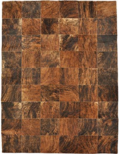 generisch Teppiche Lalee - Alfombra (piel de vacuno, 120 x 180 cm), diseño de retales, color marrón ⭐