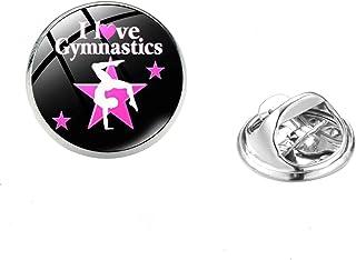 Danza Silhouette Art Pattern Spilla Pins I Love Gymnastics Glass Crystal Metal Badge Tema Sportivo Gioielli Per Uomo Donna...