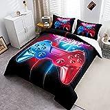 Loussiesd Juego de ropa de cama con diseño de Gamepad, funda de edredón para...