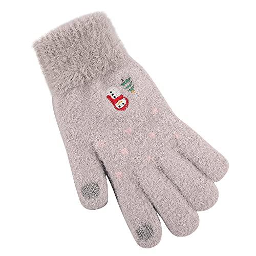 Winter Women Adult Plus Velvet Gloves Outdoor Sports Autumn Knit Gloves Thickening Cartoon Point Anti-Slip Gloves