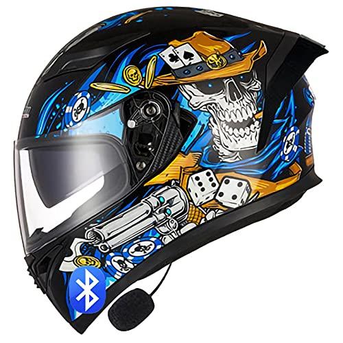 Bluetooth Cascos Integrales de Motocicleta,con Doble Visera Antideslumbrante,Cascos de Motocross Homologado ECE Racing Crash Helmet Diseño Liviano J,L=58~59cm