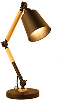 CZZS De Moda Estilo Europeo Y Americano De Modernos Pilares De Madera Sencilla Lámpara De Lectura De La Lámpara De Cabecera De Mesa De Metal Negro Sombra Personalidad Creativa Salón Dormitorio Den