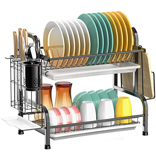 Dish Drying Rack, Cambond 304 Stainless Steel 2 Tier Dish Rack with Drain Board, Utensil Holder, Cutting Board Holder, Rustproof Dish Drainer for Kitchen Countertop, Black