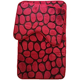 Memory Foam Bath Mat Set 2 Piece Non Slip Pedestal and Bath Mat Set Toilet Bathroom Rug New, Black/Red:Isfreetorrent