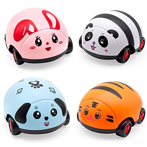 GRTLPOK Toy Pull Back Cars Baby Toy Push Car Toddlers Friction Powered Car Pull Back Vehicles for Boys Girls Toddler Birthday Gift Age 3 Years Old 4 Packs