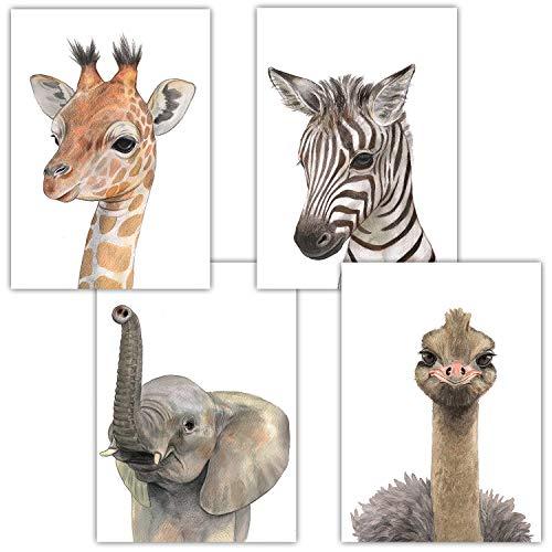Frechdax® 4er-Set Bilder Kinderzimmer Deko Junge Mädchen - DIN A4 Poster Tiere - Wandbilder - Porträt | Waldtiere Safari Afrika Tiere Porträt (4er Set Elefant, Giraffe, Strauss, Zebra)