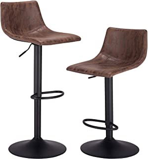Bar Stools, Set of 2, Swivel Counter Chairs with Back, Height Adjustable Barstool for Kitchen, Vintage Fabric, Larger Base 16.34 Inch, Brown