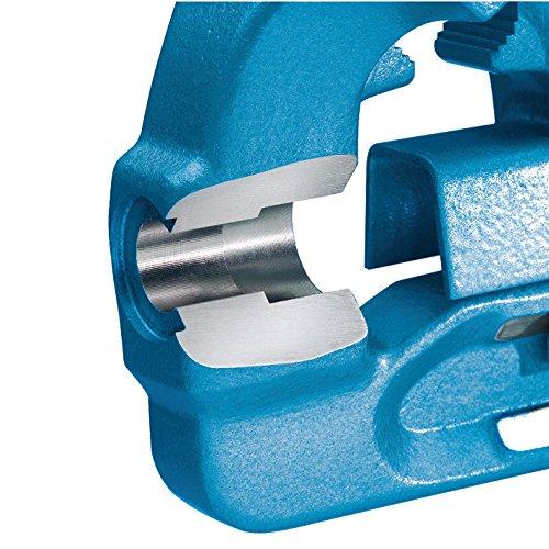 HEUER 100120 Schraubstock (120 mm) | ganz aus Stahl (unzerbrechlich) mit integriertem Amboss und Trapezgewinde, für höchste Präzision | Backenbreite: 120mm, Durchmesser: 16-55mm, 9 Kg - 4