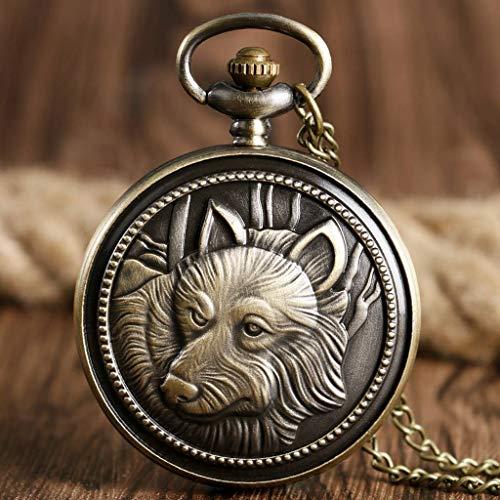 HBIN Reloj de Bolsillo Vintage finamente Grabado con patrón de Cabeza de león en una Fina Cadena de Bronce Reloj de Bolsillo clásico