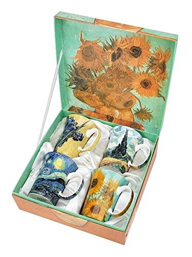 Van Gogh Coffee Mugs in Keepsake Box - Bone China - 11 Ounce Mugs - Set of 4