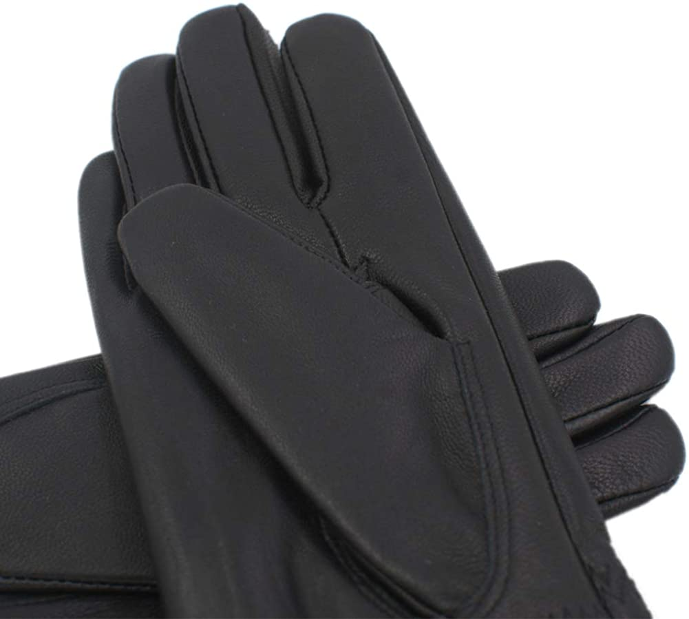 Yosang Kids Genuine Leather Winter Warm Gloves with Cashmere Lining Black