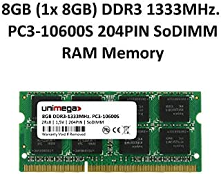 unimega 8GB (1x 8GB) DDR3 1333MHz PC3-10600S 204PIN 1,5V SoDIMM Memoria Laptop Notebook RAM Memory