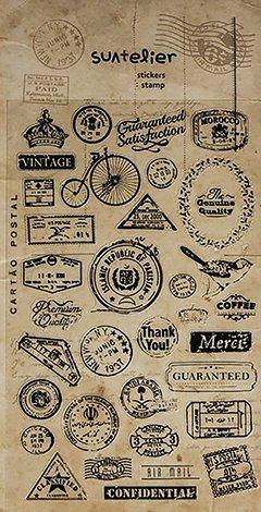 Logbuch-Verlag - 34 pequeñas pegatinas con motivos vintage de sellos, etiquetas autoadhesivas de estilo nostálgico, para scrapbooking o decoración