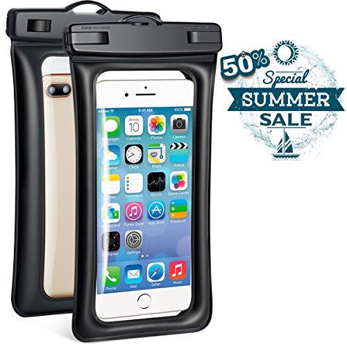 (2 Pack) Universal Waterproof Case, Powerman Dry Bag TPU Floating Waterproof Phone Pouch for iPhone X/8/8 Plus/7/7 Plus/6s/6/6s Plus Samsung Galaxy S9 Plus/S8 Plus/S7 LG V20 Google Pixel Huawei