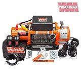 Winchmax 15000 libras original naranja 12v cabrestante eléctrico, cuerda Dyneema, doble mando a distancia inalámbrico.
