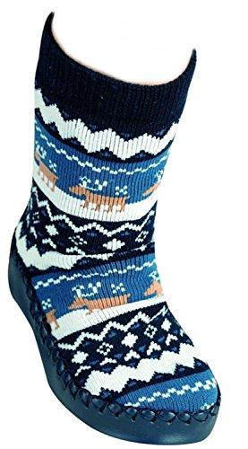 1 Paar Hüttenschuh-Söckchen,Home Socks Komfortsohle für jungen & Mädchen CH-2077 (30/31, Marine)