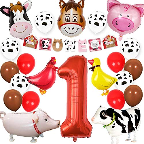 Kreatwow Farm Animal 1st Birthday Party Supplies Decorations Animal Mylar Balloons One Banner for Barnyard First Birthday Decor