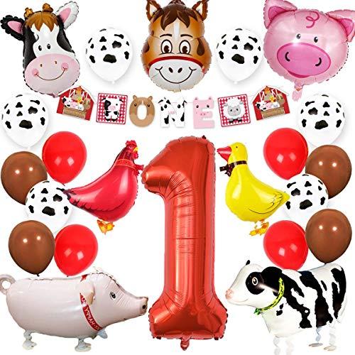 Kreatwow Granja Animales 1er cumpleaños Suministros de Fiesta Decoraciones Animal Mylar Globos Una Pancarta para niños Decoración de Primer cumpleaños de Corral
